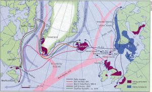 Viking travel routes in the north Atlantic