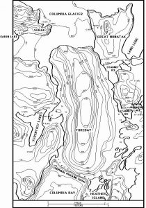 Topographic map of Columbia Fjord - Radiocarbon and tree ring sample sites from trees overrun by glaciers