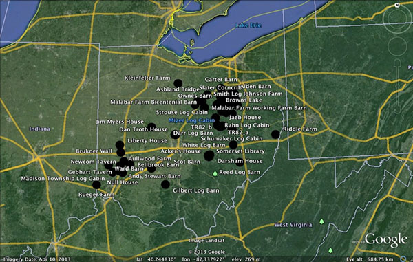 Map of tree ring sample sites from all regions of Ohio