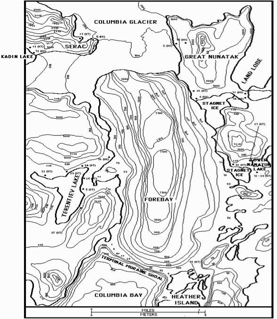 Topographic map of Columbia Glacier area, showing wide fjord geometry